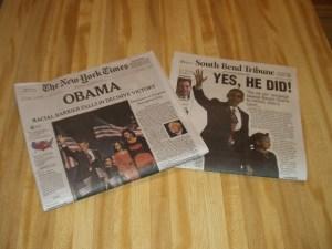 Newspaper headlines from November 5