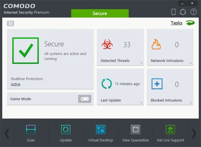Comodo Internet Security windows