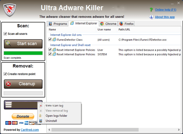 Ultra Adware Killer windows