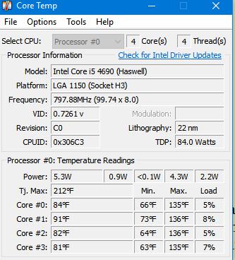 Core Temp latest version