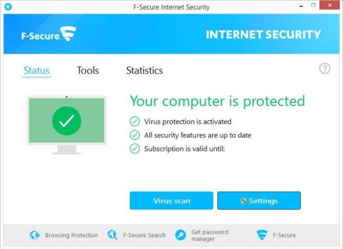 F-Secure Internet Security windows