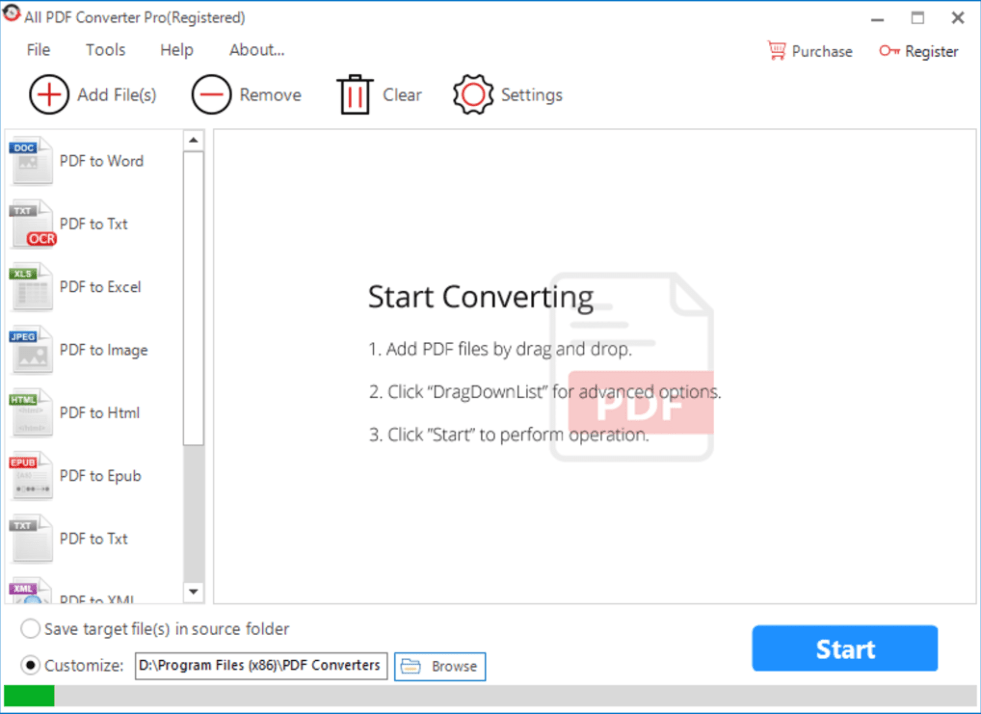 All PDF Converter Pro windows