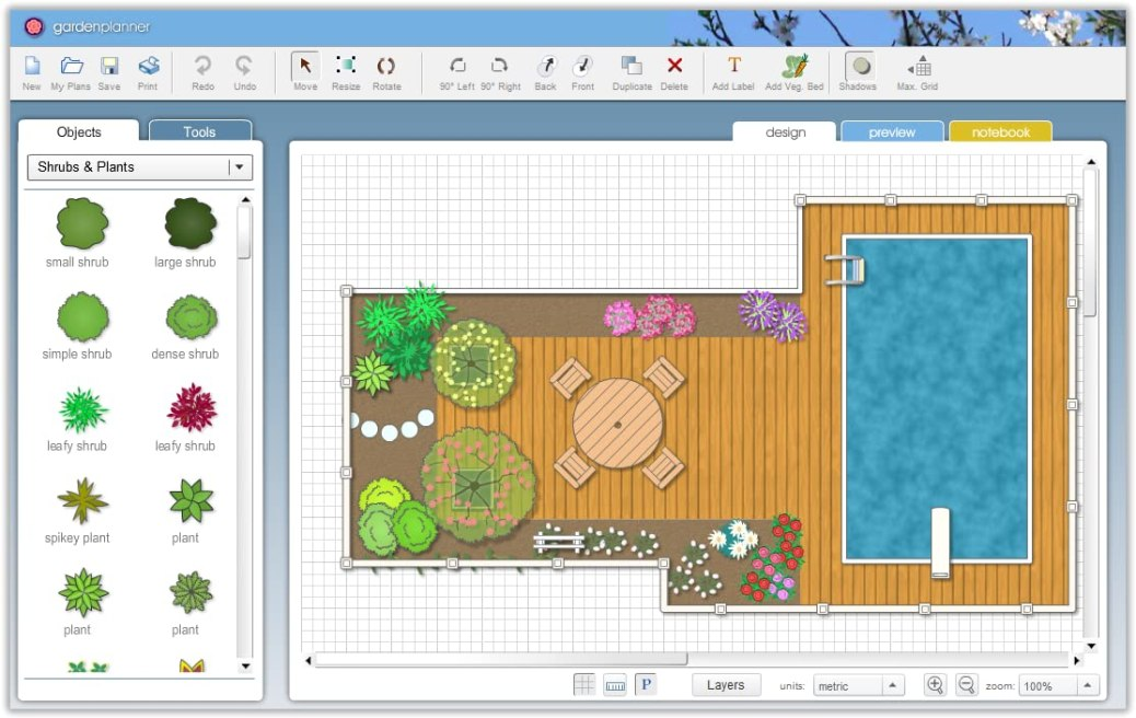 Garden Planner windows