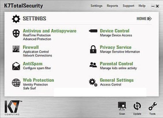 K7 TotalSecurity windows