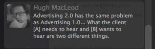 tweet from Hugh MacLeod