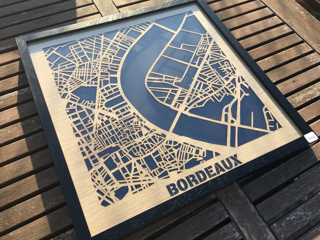 Bordeaux Plan Hit The Road Decoupe Sur Placage Bois By Craft Co Craft Co