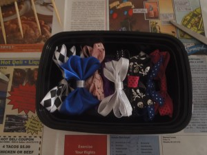 BONUS UPCYCLING TIP: Easily store your bows in an old take out container or check out my upcoming bow holder tutorial. :)