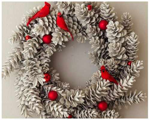 advent wreath white pinecones