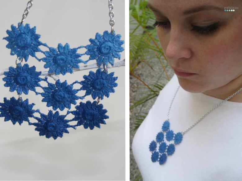 dip deyed lace necklace
