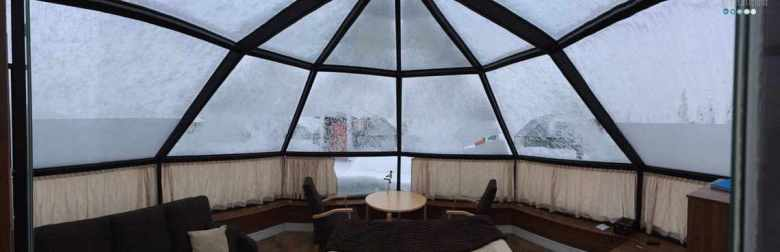 inside glass igloo