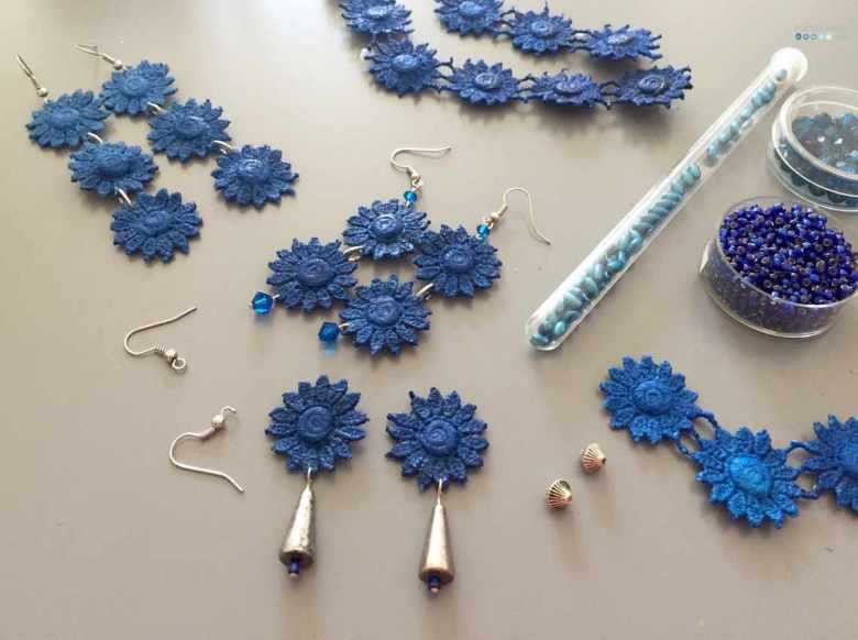 handmade lace earings