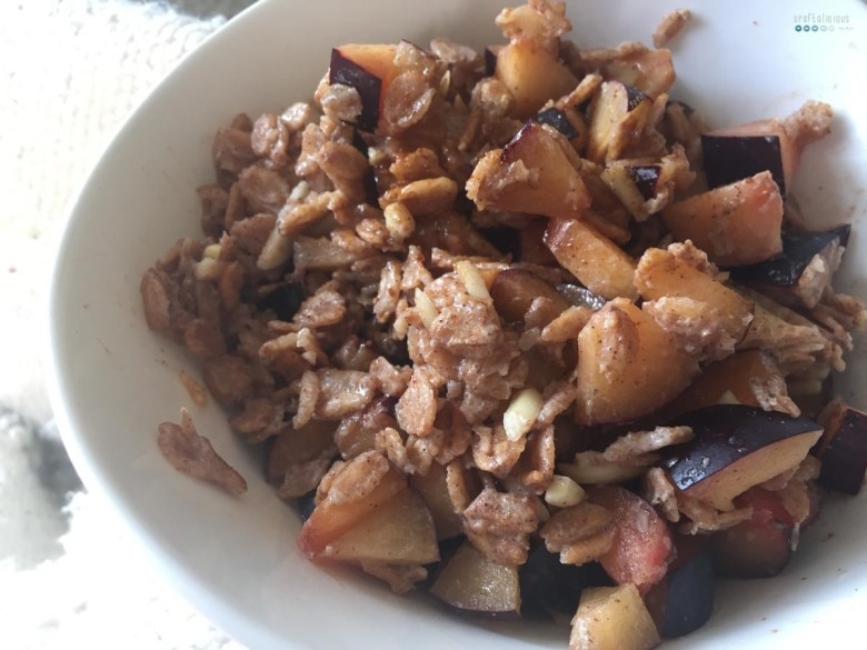 Fruity Warm Breakfast Oats plums