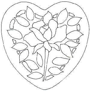 Rose Heart Stained Glass Pattern and Rose Heart Applique