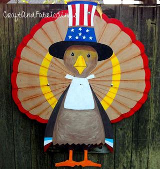 Patriotic Thanksgiving Turkey Wood Pattern