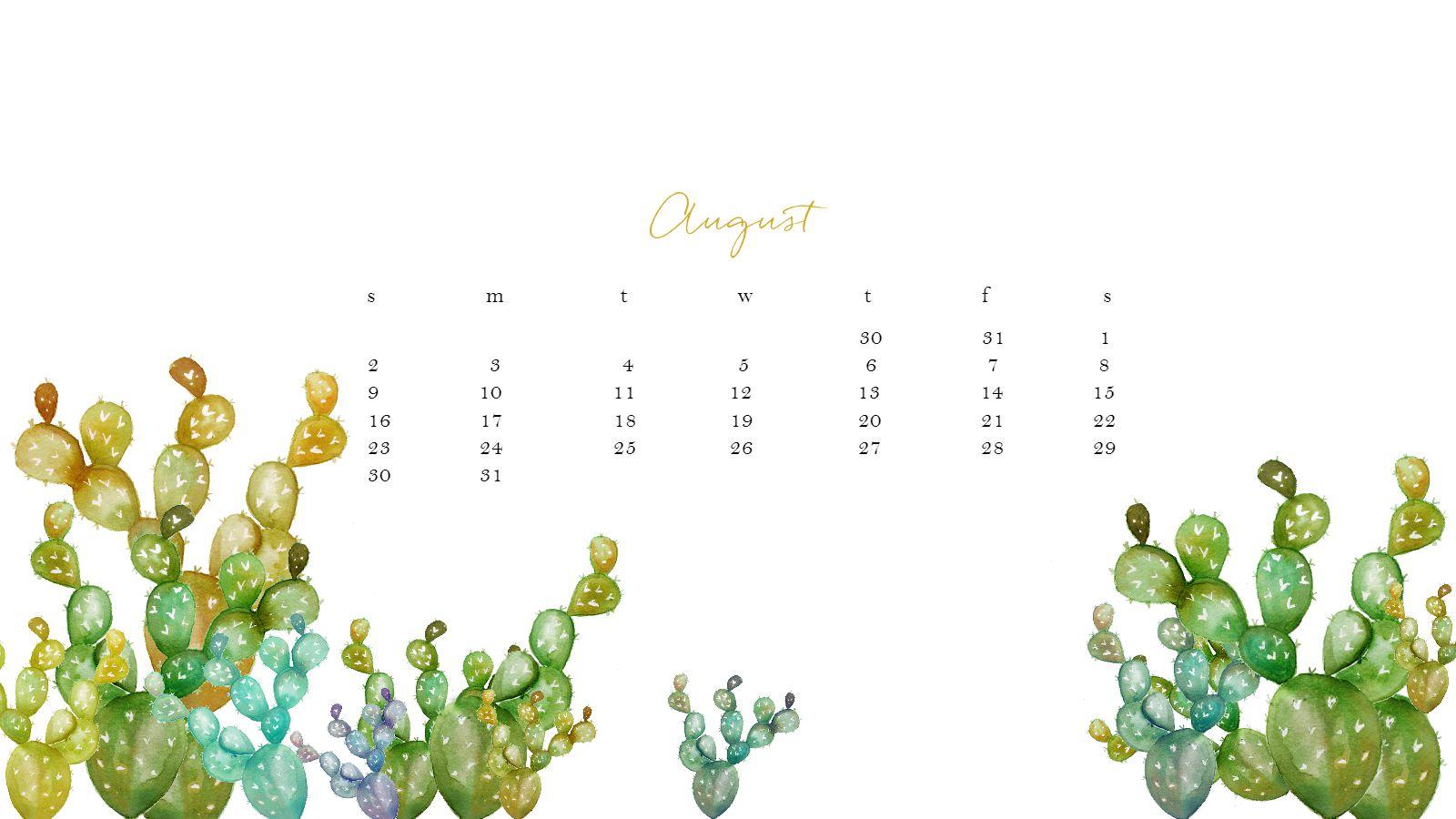 Hello Fall Wallpaper Macbook Pro Free August Watercolor Desktop Calendar