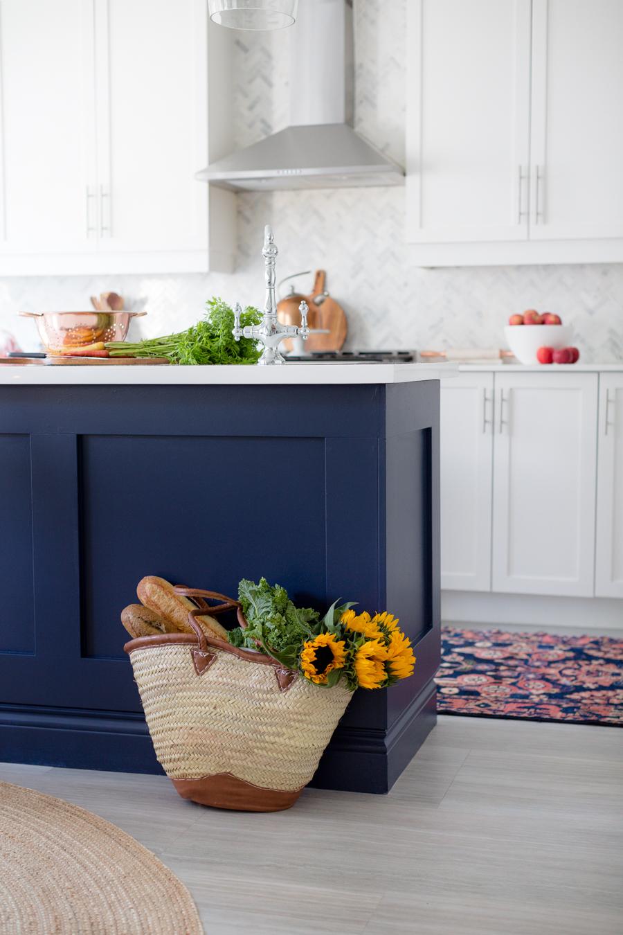 blue kitchen island gray chairs bluekitchencounter
