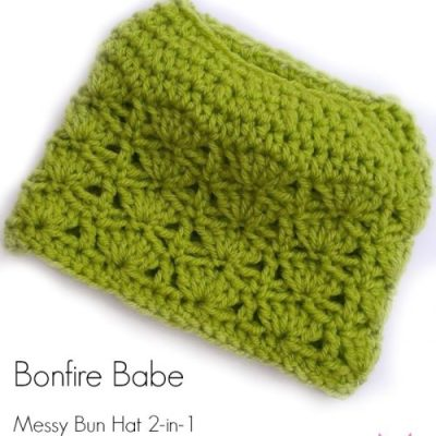 Bonfire Babe Messy Bun Hat and Beanie 2-in-1, multiple sizes available!