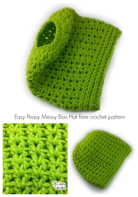 Easy Peasy Messy Bun Hat free crochet pattern