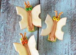 I'm always looking for fun, healthy snacks for kids. And these butterflies combine a fruit and vegetable and protein with a little chocolate treat for kids!