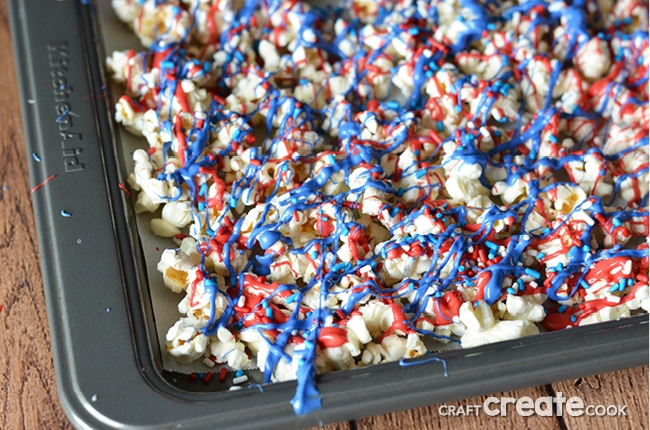 With a handful of simple products, you can make this red, white and blue patriotic snack mix for your next outing and be the hit of the party!