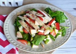 You will not be disappointed in this Strawberry Spinach Salad. Serve it with or without chicken and it will be a big hit!