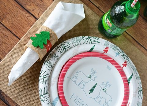 Our Easy to Make Christmas Napkin Rings are no sew and perfect for a small holiday get-together or Christmas dinner.