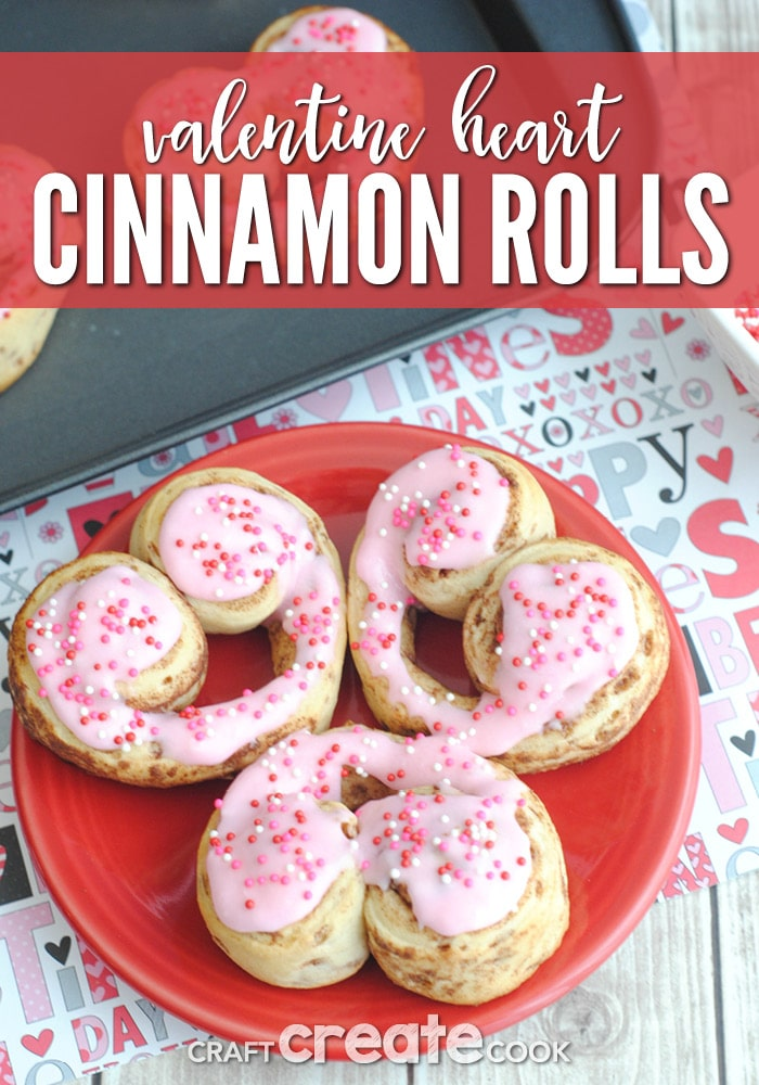 Valentine Cinnamon Roll Hearts are adorable, easy to make and perfect for Valentines breakfast!