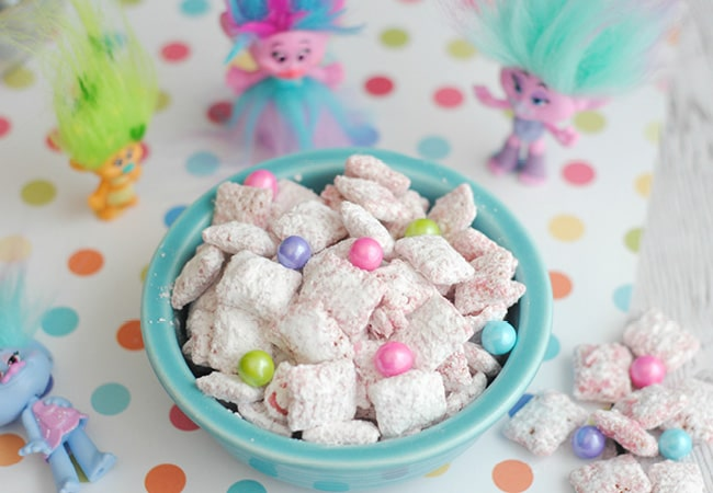Sing, dance and hug while you make and eat this Trolls puppy chow!