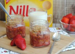 Strawberry Mason Jar Crumble is the perfect spring or summer dessert!