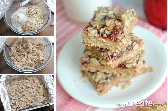 These homemade peanut butter & jelly bars are perfect for an easy on the go breakfast or yummy after snack!