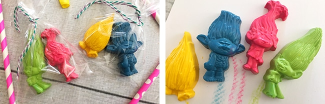 Trolls Party Favors! Make Your Own Troll Crayons!