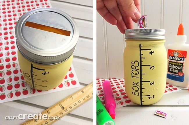 Our Mason Jar Box Top Collection Jar is a perfect DIY way to collect box tops to save for your child's school.