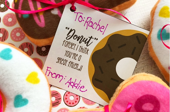 photograph regarding Donut Valentine Printable named Donut Valentines with Cost-free Printable - Craft Acquire Cook dinner