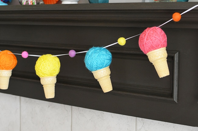 This easy to make ice cream cone garland will have you screaming for the real frozen treat!