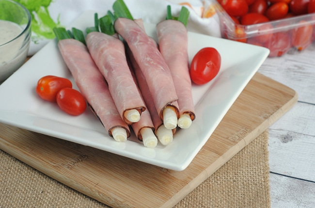 Low Carb Keto Ham & Onion Roll Ups make an easy light lunch or quick on the go snack!