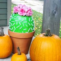 Cactus Painted Pumpkin