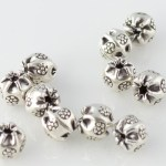 Thai Silver - Ribbed Floral Beads