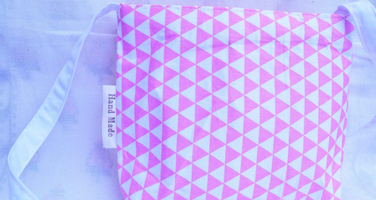 Girls Side Shoulder Bag (Pink Geometric design)