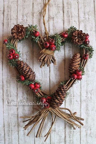 Christmas Decoration to Make  Grapevine Heart Wreath Wall