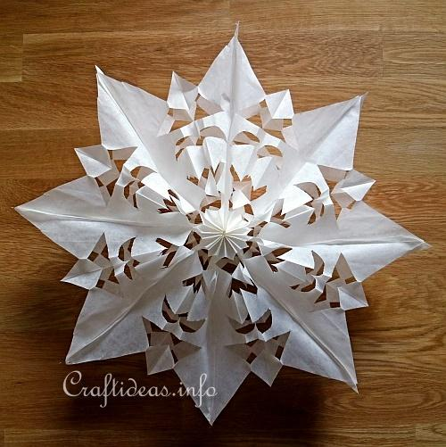 Craft Idea For Christmas And Winter Paper Bag Snowflakes