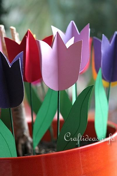 Spring Crafts For Kids Paper Tulips Flower Bouquet