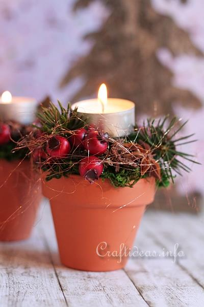 Christmas Decoration DIY Terracotta Pots Tea Light