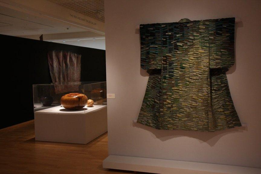 Tim Harding, Jade River Kimono, 2006; Edward Moulthrop, Untitled Bowl; David Ellsworth, Mo's Delight, 1993 at the Mingei International Museum