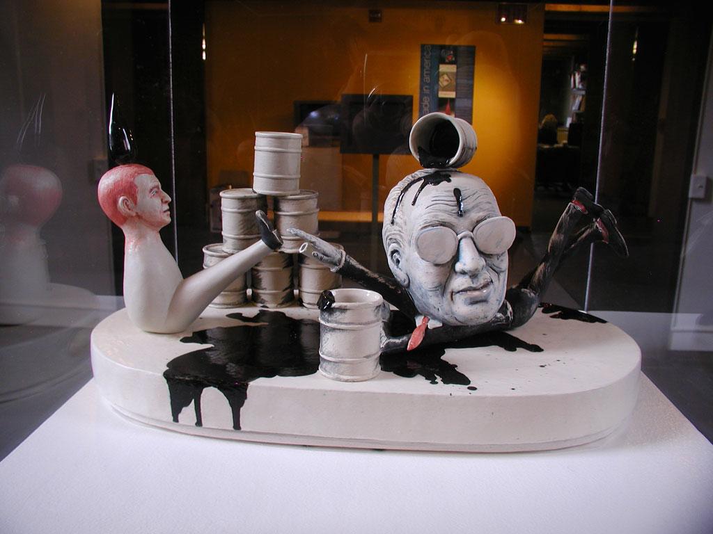 Patti Warashina, Oil Slick (Drunken Power series), Sake set, 2004 at the Fuller Craft Museum