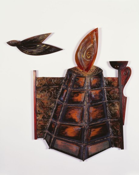 Chernobyl Cocktail, 1986. Painted and fused glass, modeling paste, metals, wood, 38 x 35, Collection of Susan Steinhauser and Daniel Greenberg, Lone Star Silver Studio photograph