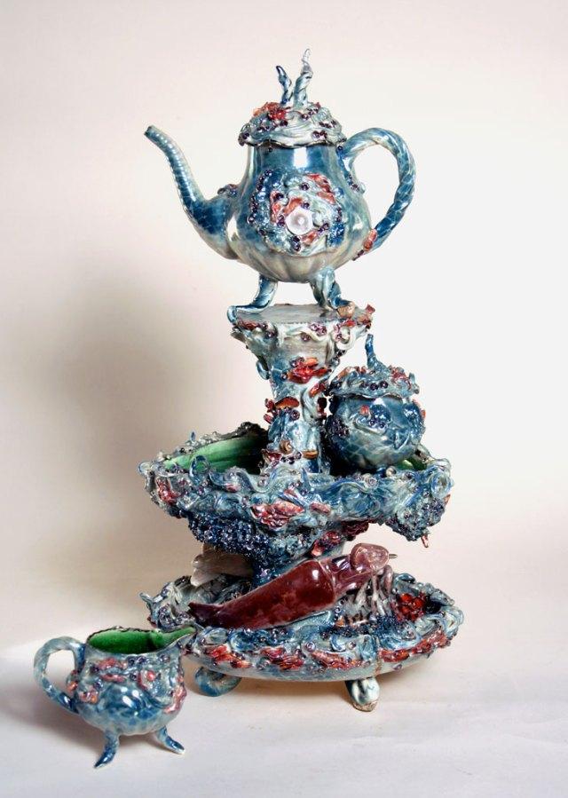 Nikki Lewis, Untitled Tea Set, 2004. Porcelain