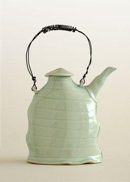 Scott Jennings, Teapot, 2006. Slab built mid range stoneware, wire handle
