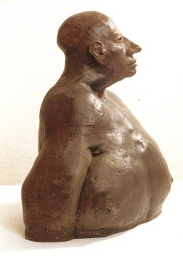 Larry White, Emil 3, 2005. Stoneware, bisque fired with wax patina, Larry White photograph
