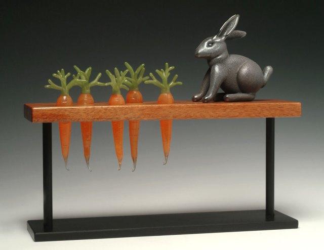 Jen Violette, Temptation #5, 2007. Hot sculpted glass, mahogany, steel, Jeff Baird photograph