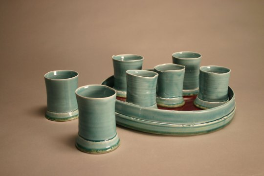 Jaclyn DeMeo, Cups with Tray, 2007. Glazed porcelain